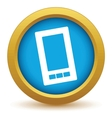 Gold smartphone icon vector image