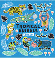 sticker set with tropical animals vector image