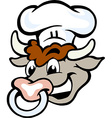 Hand-drawn of an Happy Bull Chef Head vector image