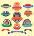 set of retro blank labels and ribbons template vector image