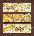 set of 3 hand-draw horizontal baners with baking vector image vector image