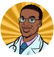 black male doctor african american pop art avatar vector image