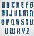 Geometric letters decorated with blue pixel vector image