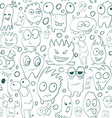 Seamless background contour funny monsters for vector image