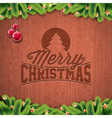 Christmas typographic design on wood background vector image vector image