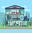 bank building with people and bank employees in vector image vector image