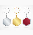 realistic metal and plastic keychains set rhombus vector image vector image