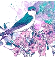 Spring cherry background with birds vector image vector image