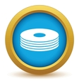 Gold disk icon vector image vector image