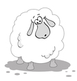 cartoon sheep in black and white vector image vector image
