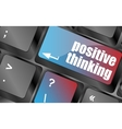 positive thinking button on keyboard - social vector image