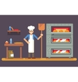 Cook baker cooking bread icon on bakery background vector image