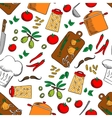 Cooking and kitchen utensils seamless background vector image