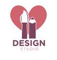 creative design studio logotype with brush and vector image