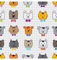 hand drawn doodle cartoon animal heads seamless vector image