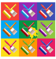 paint brush and roller vector image