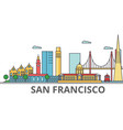 san francisco city skyline buildings streets vector image