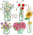 Set of mason jars with flowers vector image