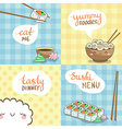 Sushi Posters Set in Cute Design vector image