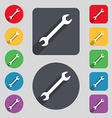 wrench icon sign A set of 12 colored buttons and a vector image
