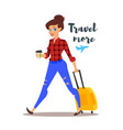 Young pretty woman with a travel case vector image