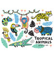 set of tropical animals with crocodile tiger vector image