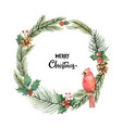 Watercolor christmas frame with bird vector image