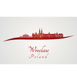 Wroclaw skyline in red vector image