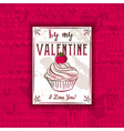 Red background with valentine heart muffin vector image