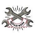 Color vintage repair workshop emblem vector image