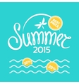 Colorful lettering summer on yellow background vector image