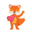 cute orange fox character standing and holding vector image