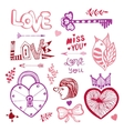 Happy Valentines day Cute doodle collection with vector image