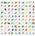 100 signpost icons set isometric 3d style vector image
