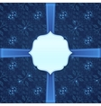 Navy blue background with ribbon and label vector image