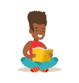 Boy With Afro Sitting With Legs Crossed On The vector image
