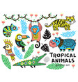 collection of mountain animals with ethnic tribal vector image
