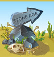 cartoon stone age pointer template vector image