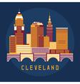 Cleveland Ohio Usa flat design of skyline vector image