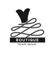 boutique shop logo label with black dress isolated vector image
