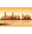 Chicago city skyline detailed silhouette vector image