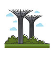 huge creative towers with bowls on top and metal vector image