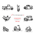 set hand-drawn vintage kids transport toys car vector image