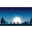 Train santa with reindeer landscape of silhouettes vector image