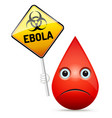 the sad drop of blood with yellow ebola virus vector image