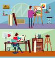 art studio horizontal banners vector image