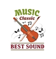 Classic music sign with violin bow and note vector image