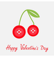 Cute cherriy buttons Flat design Valentines day vector image