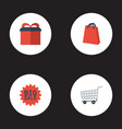 flat icons present trolley big sale and other vector image