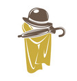 gentleman accessory set of brown hat with umbrella vector image